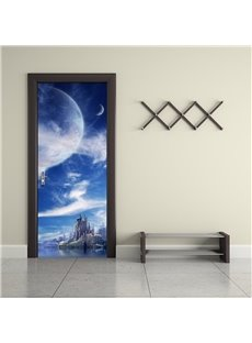 30×79in Blue Sky and Architectures PVC Environmental and Waterproof 3D Door Mural