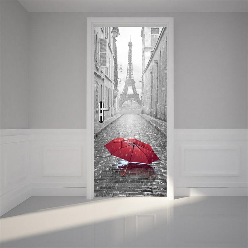 30×79in Red Umbrella on Ground PVC Environmental and Waterproof 3D Door Mural