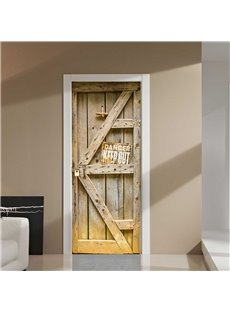 30×79in Wooden Door Looking PVC Environmental and Waterproof 3D Door Mural