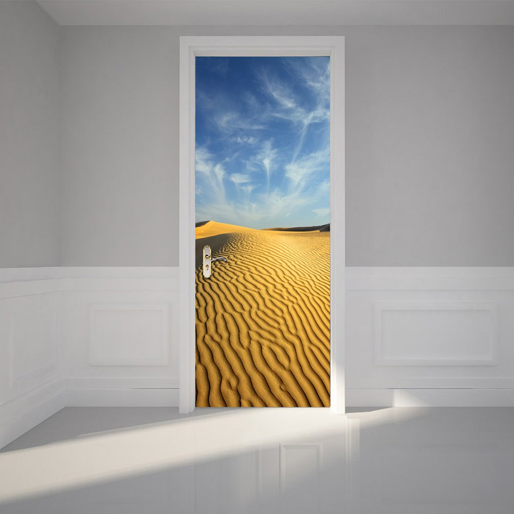 30×79in Yellow Desert and Blue Sky PVC Environmental and Waterproof 3D Door Mural