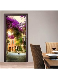 30×79in Houses and Flowers PVC Environmental and Waterproof 3D Door Mural