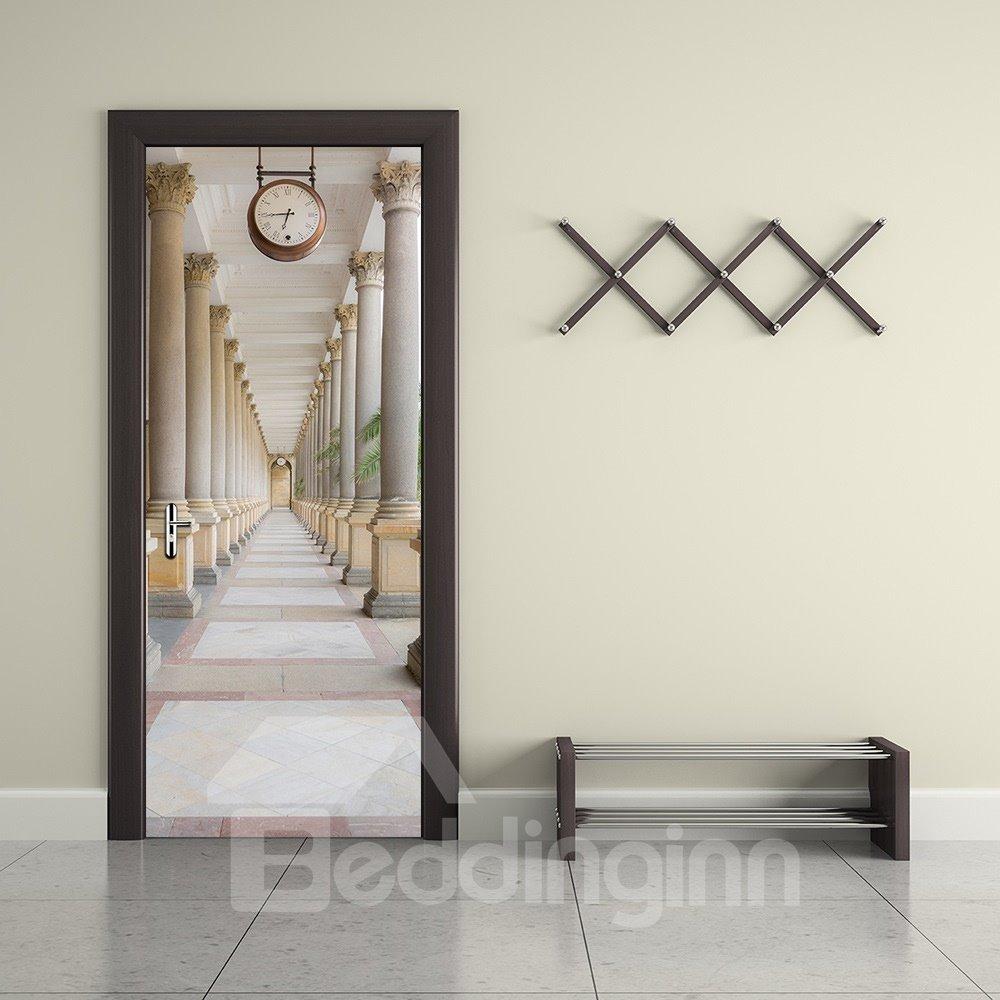 30×79in Corridor Surrounded by Pillars and Clock PVC Waterproof 3D Door Mural