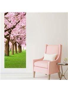 30×79in Pink Cherry Trees PVC Environmental and Waterproof 3D Door Mural