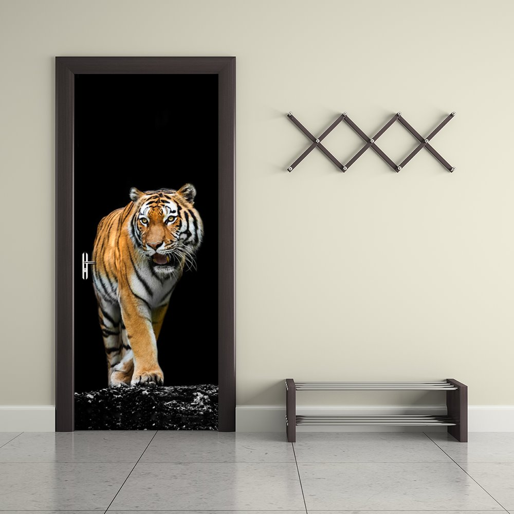 30×79in Black Background with Tiger Printed PVC Environmental and Waterproof 3D Door Mural