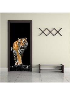 30×79in Black Background with Tiger Printed PVC Environmental and Waterproof 3D Door Mural