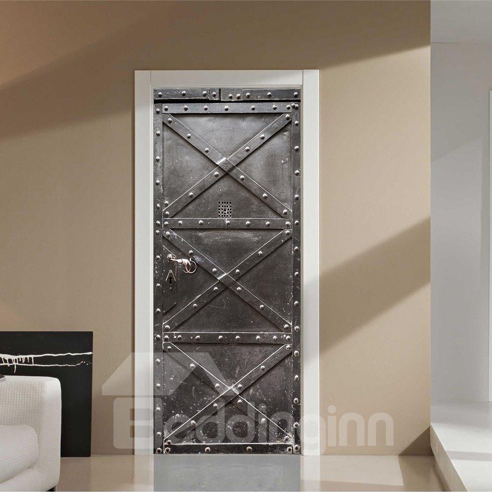 30×79in Black Iron Door with Nails Pattern PVC Environmental and Waterproof 3D Door Mural