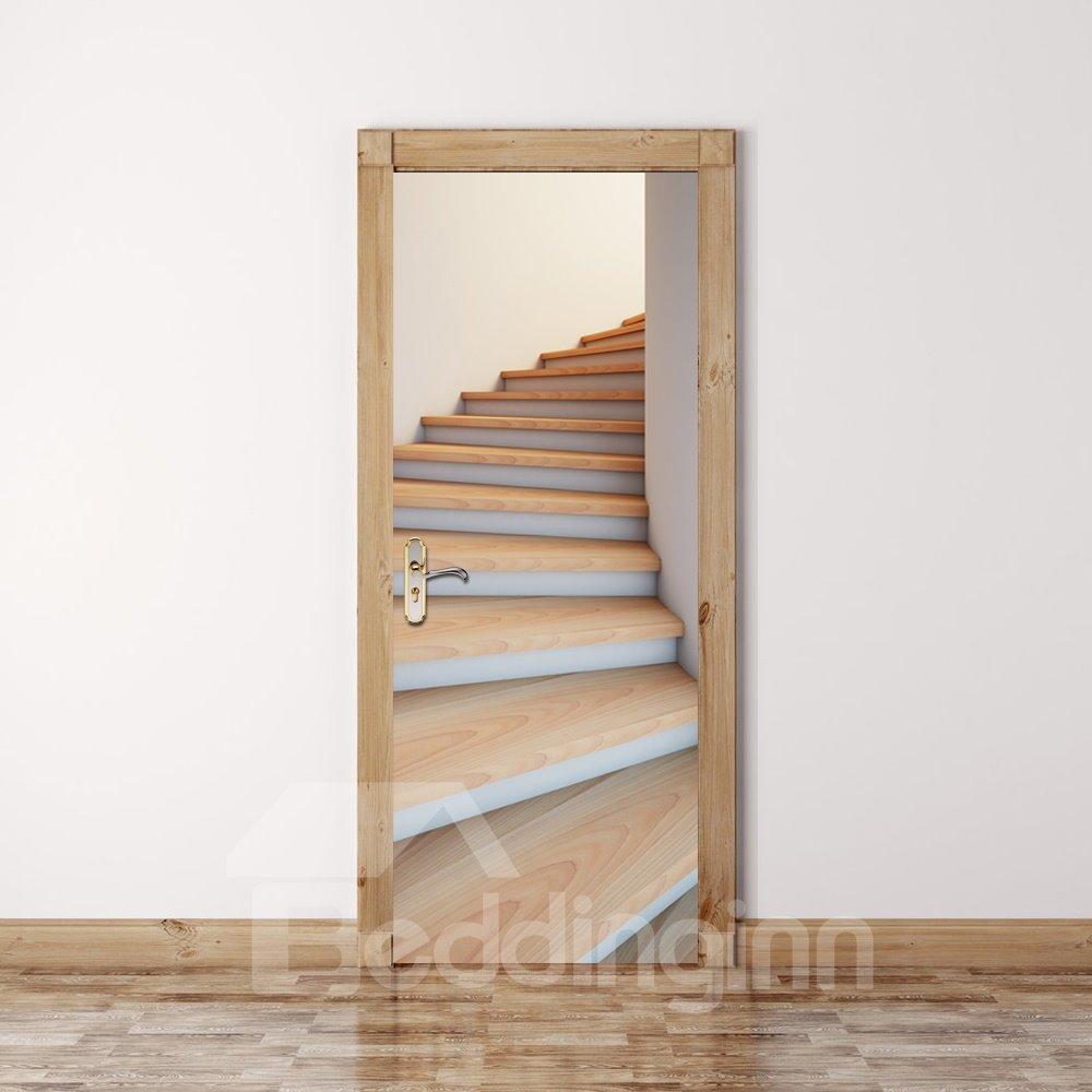 30×79in Stairs Simple Style PVC Environmental and Waterproof 3D Door Mural