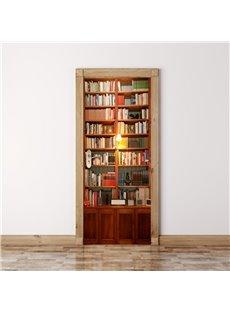 30×79in Book Shelf Wisdom Paradise PVC Environmental and Waterproof 3D Door Mural