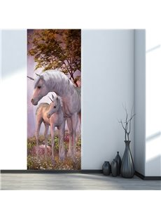 30×79in White Horses in Forest PVC Environmental and Waterproof 3D Door Mural