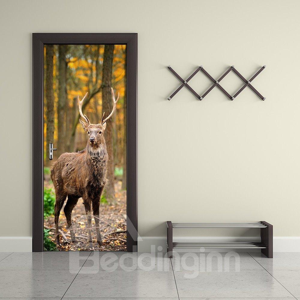 30×79in Brown Deer in Forest PVC Environmental and Waterproof 3D Door Mural