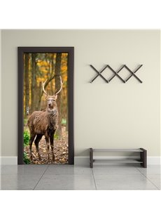 30×79in Brown Deer in Forest PVC Environmental and Waterproof 3D Door Mural