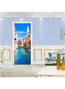 30×79in Blue Water City Surrounded by Architectures PVC Waterproof 3D Door Mural