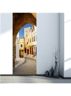 30×79in Suburban Houses and Arch Gate PVC Environmental and Waterproof 3D Door Mural