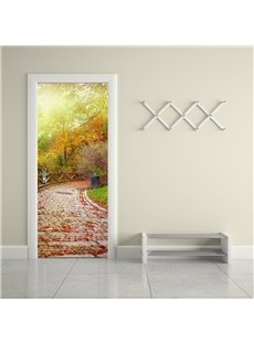 30×79in Path Surrounded by Trees PVC Environmental and Waterproof 3D Door Mural