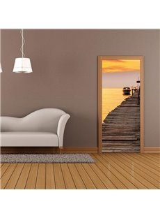 30×79in Wooden Path above Yellow Lake PVC Environmental and Waterproof 3D Door Mural