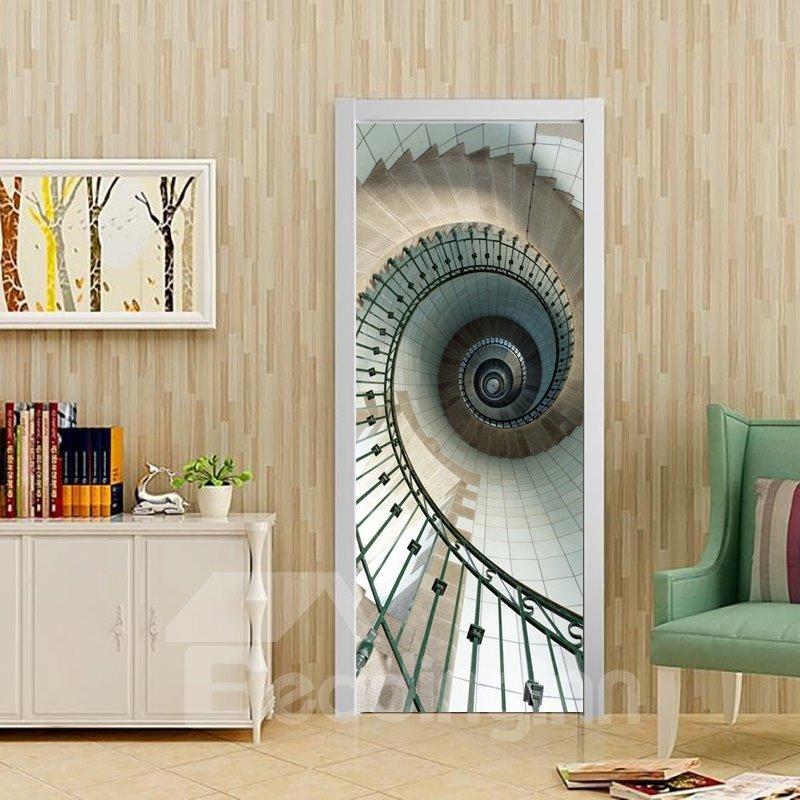 30×79in Spiral Stairs Elegant Style PVC Environmental and Waterproof 3D Door Mural