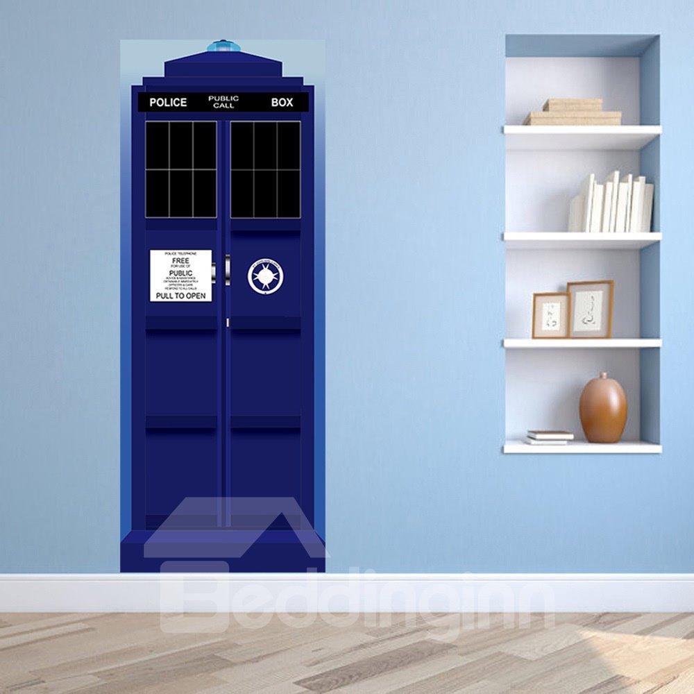 30×79in Blue Public Call Box PVC Environmental and Waterproof 3D Door Mural