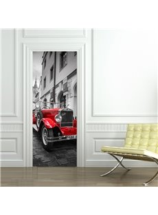 30×79in Red Car and City PVC Environmental and Waterproof 3D Door Mural