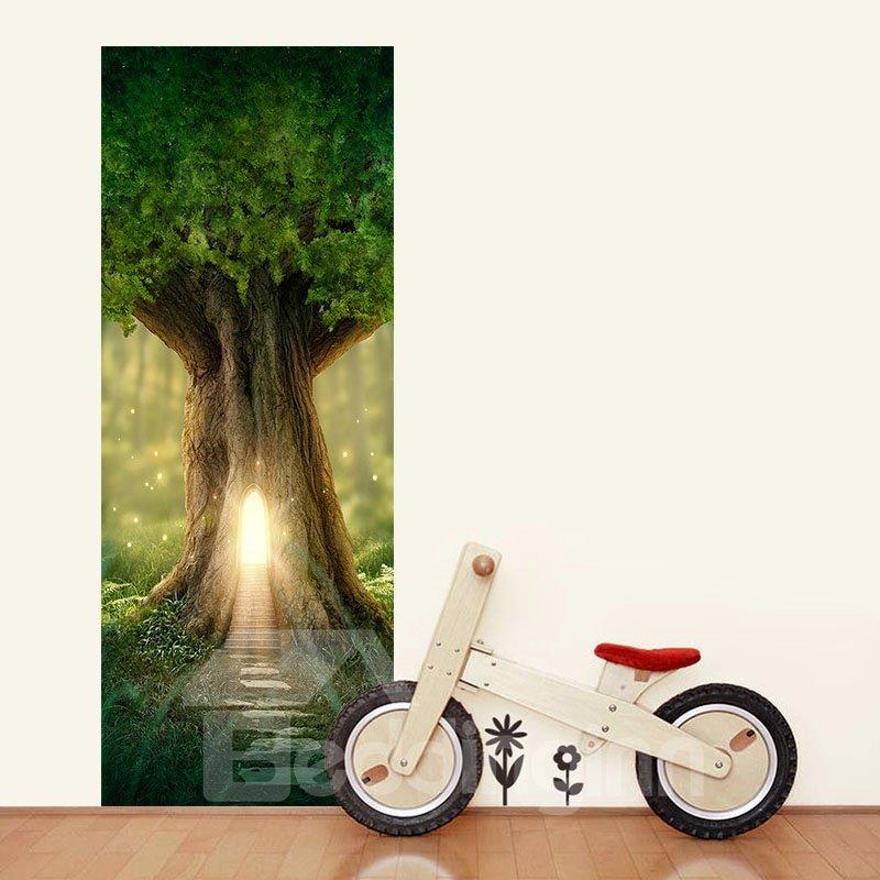 30×79in Green Tree PVC Environmental and Waterproof 3D Door Mural