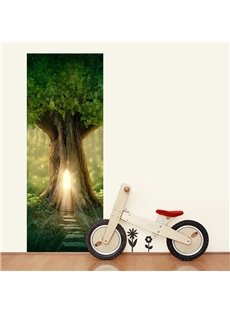 30×79in Green Tree PVC Environmental and Waterproof 3D Door Mural