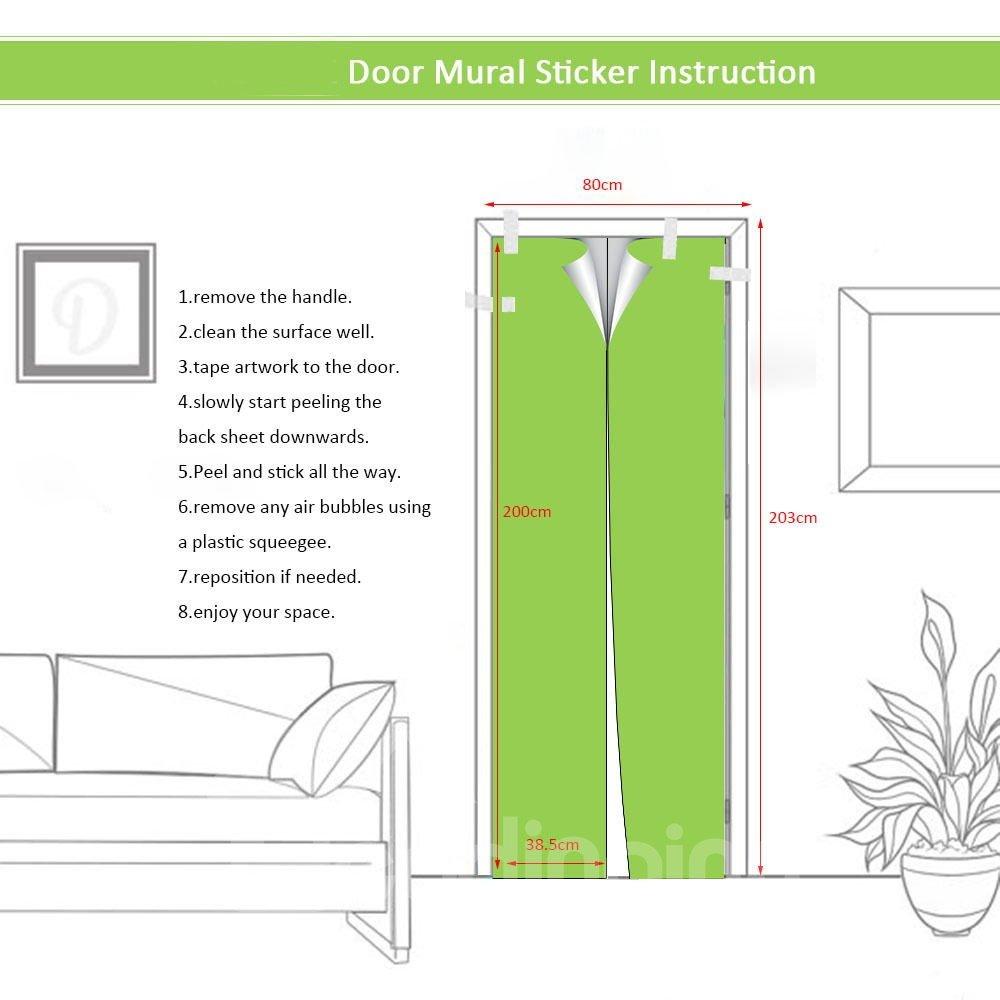 30×79in Sun and Sea Tide PVC Environmental and Waterproof 3D Door Mural