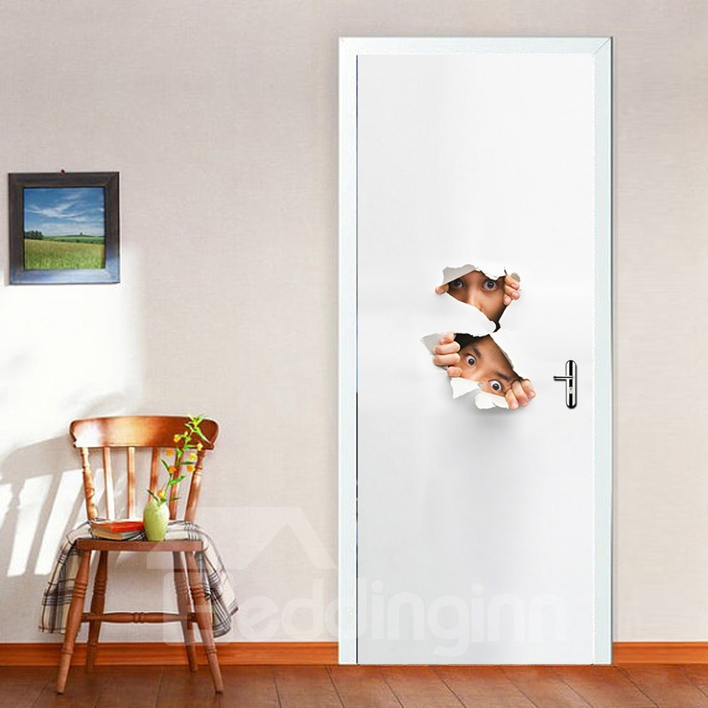 30×79in White Background with Two People Digging Holes PVC Waterproof 3D Door Mural