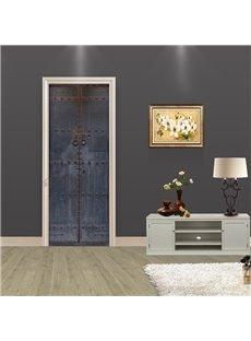 30×79in Grey Door Vintage Style PVC Environmental and Waterproof 3D Door Mural