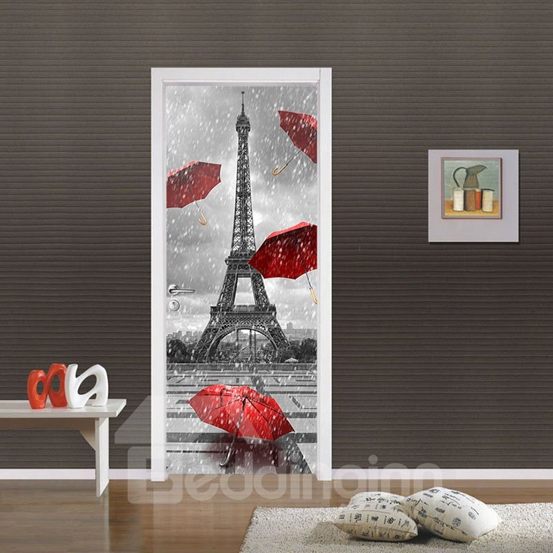 30×79in Red Umbrellas and Tower in Rainy Day PVC Waterproof 3D Door Mural