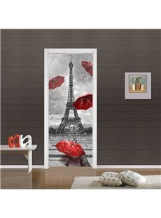 30×79in Red Umbrellas and Tower in Rainy Day PVC Waterproof 3D Door Mural