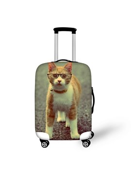 3D Pattern Orange Cat with Glasses Water-Resistant Travel Luggage Cover