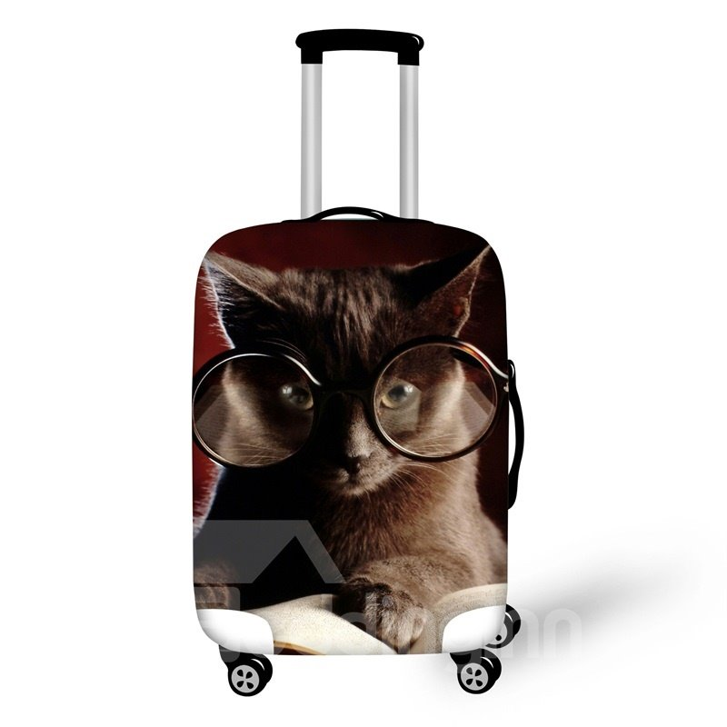 3D Animals Cat with Glasses Pattern Waterproof Anti-Scratch Travel Luggage Cover