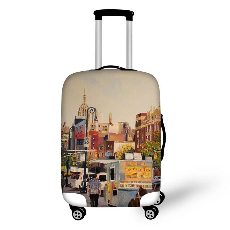 3D Pattern Street View Waterproof Suitcase Protector 19 20 21
