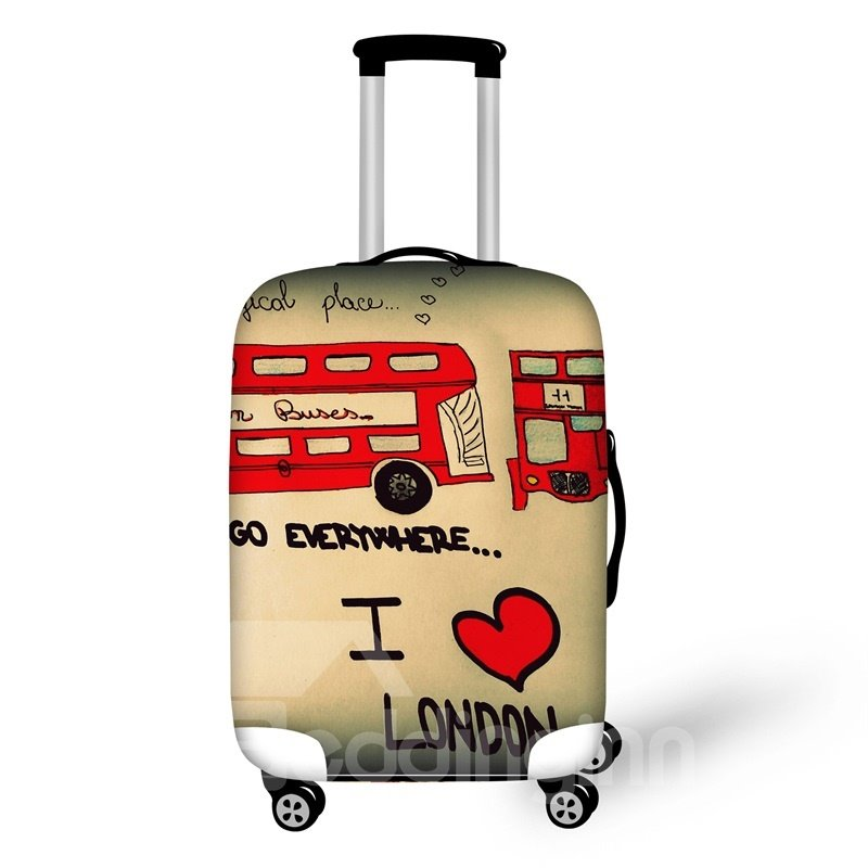 Double Decker Bus 3D Pattern Travel Luggage Cover Suitcase Protector 19 20 21