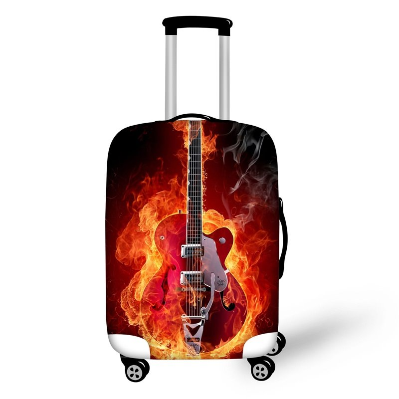 Guitar Music Fan Fire Travel Luggage Cover Suitcase Protector 19 20 21