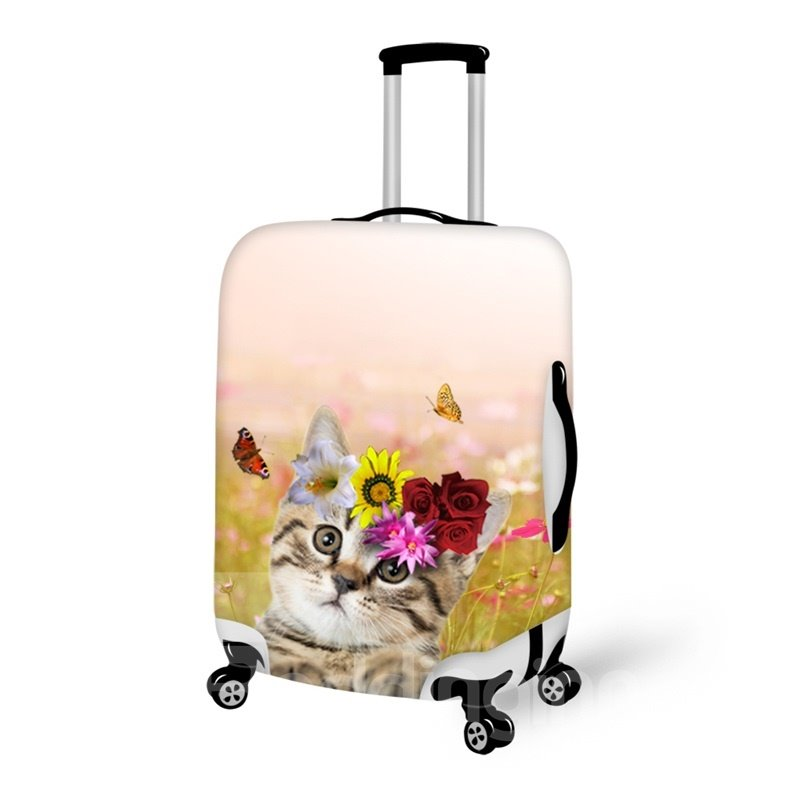 Animals Adorable Cat Floral 3D Pattern Anti-Scratch Fashion Luggage Protector Travel Suitcase Cover