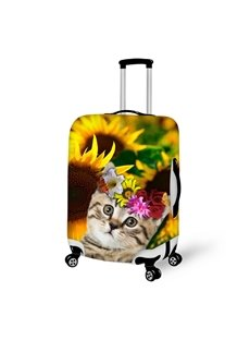 Sunflower Cute Cat 3D Pattern Fashion Cool Fashion Luggage Protector Travel Suitcase Cover