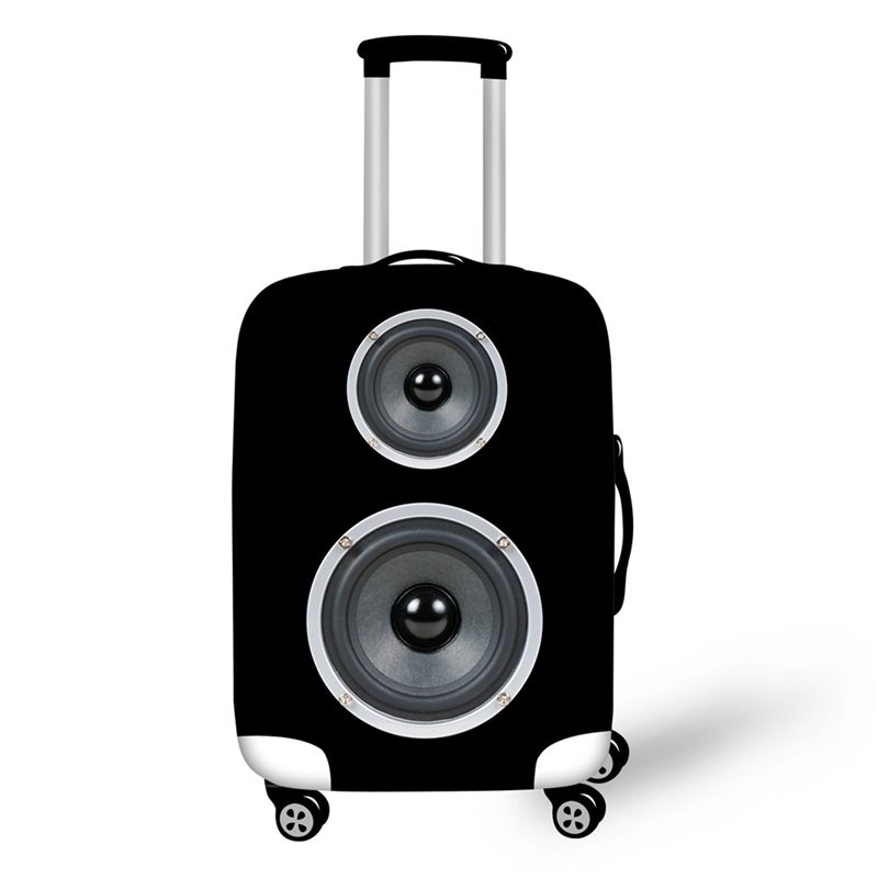 Black Speaker 3D Pattern Music Style Spandex Travel Luggage Cover 20/22/24/26/28 Inch