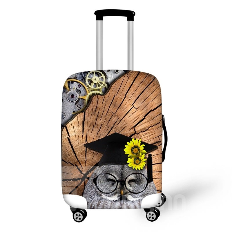 """Dr. Owl Smile Floral 3D Pattern Suitcase Spandex Cover Protector for 20"""" 24"""" 28"""""""