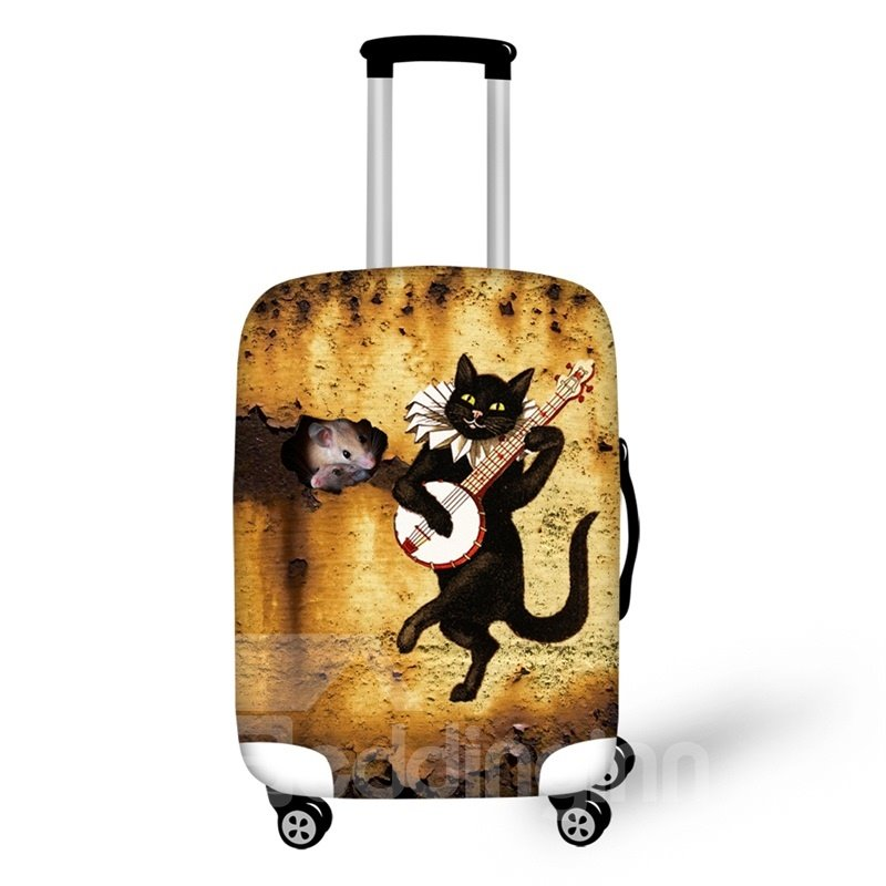 "Cute Black Cat Playing Anti-Scratch Travel Luggage Cover Suitcase Protector 19"" 20"" 21"""