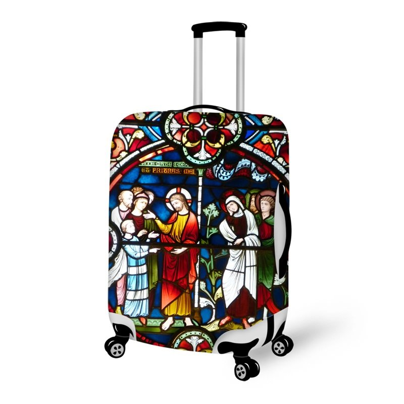 Church 3D Godfather Christians Pattern Waterproof Anti-Scratch Travel Luggage Cover