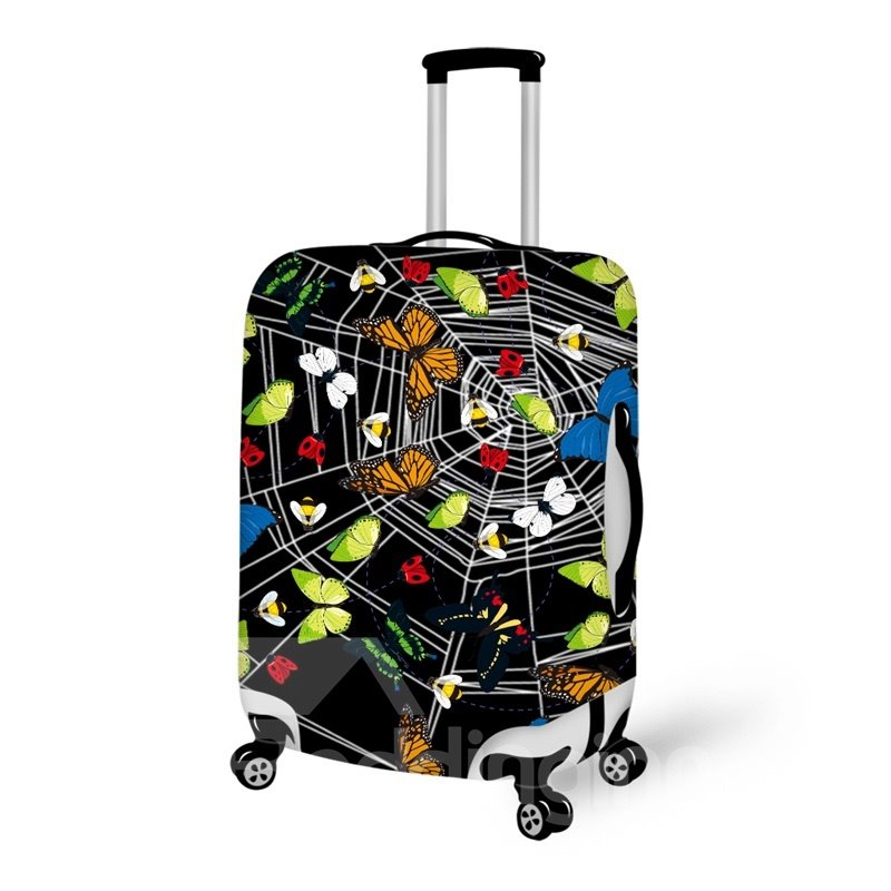 Spider Web Butterfly Anti-Scratch Travel Luggage Suitcase Spandex Cover Protector