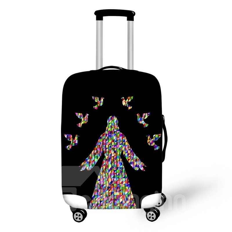 Colorful Person and Birds Washable Waterproof Travel Zipper Nylon 3D Luggage Cover