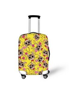 Washable Cat with Glasses Floral Waterproof Travel Zipper Nylon 3D Luggage Cover