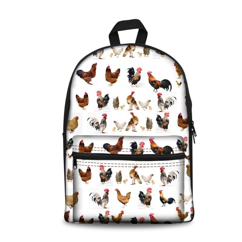 Washable Chicken 3D Pattern Lightweight School Outdoor Backpack