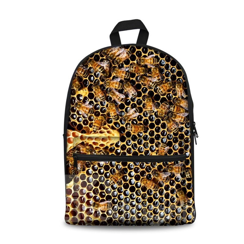 Honeycomb Bee 3D Pattern School Outdoor for Man&Woman Backpack