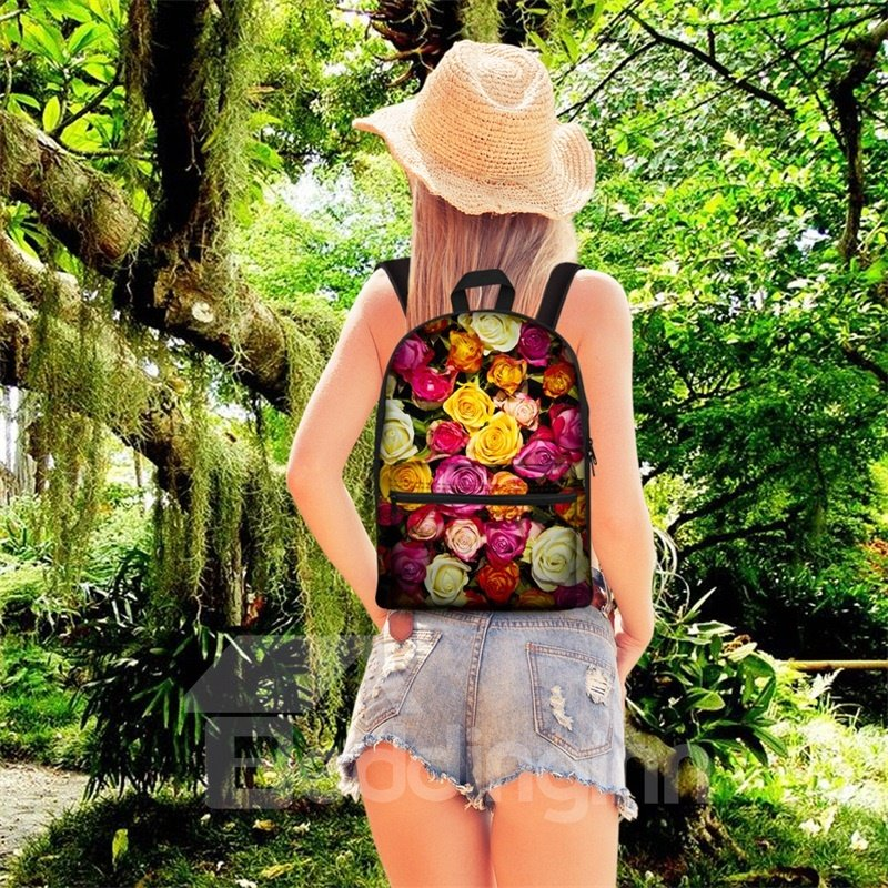 3D Pattern Flower Floral Colorful School Outdoor Backpack
