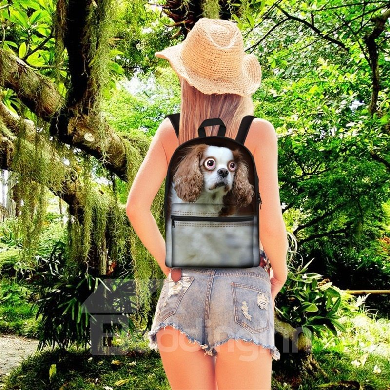 3D Pattern Big Eyes Dog School Outdoor for Man&Woman Backpack