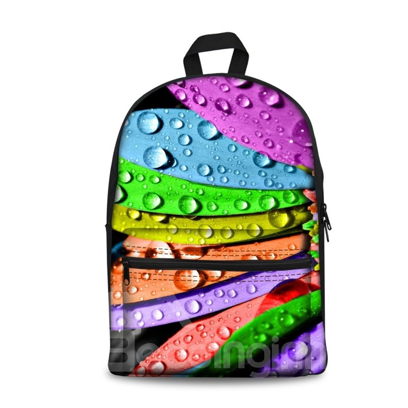 Washable Water Drops 3D Pattern Colorful Lightweight School Outdoor Backpack