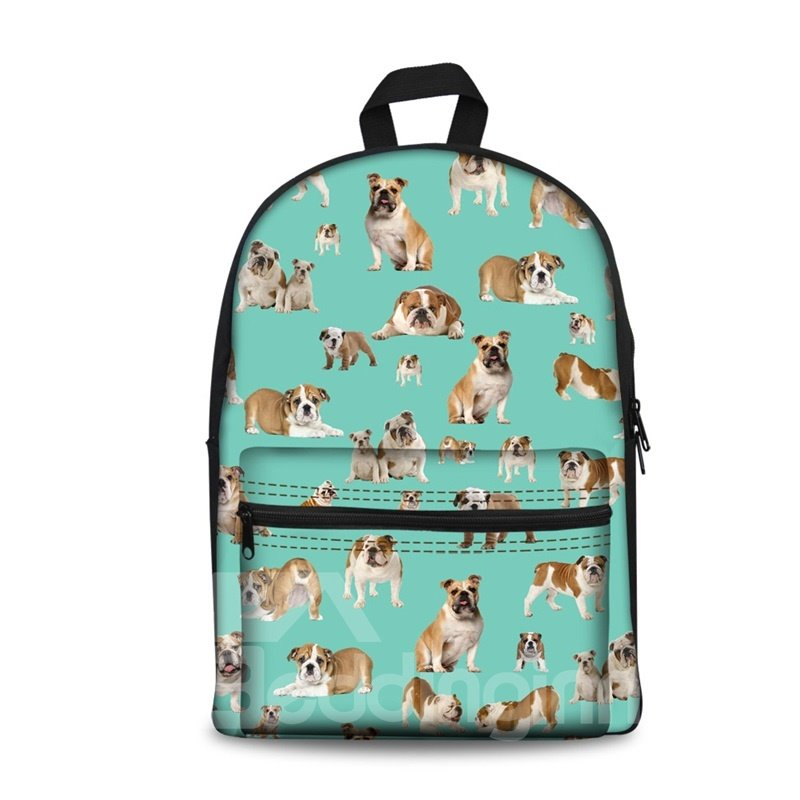 3D Cute Style Various Adorable Dogs Pattern Washable Lightweight School Outdoor Backpack