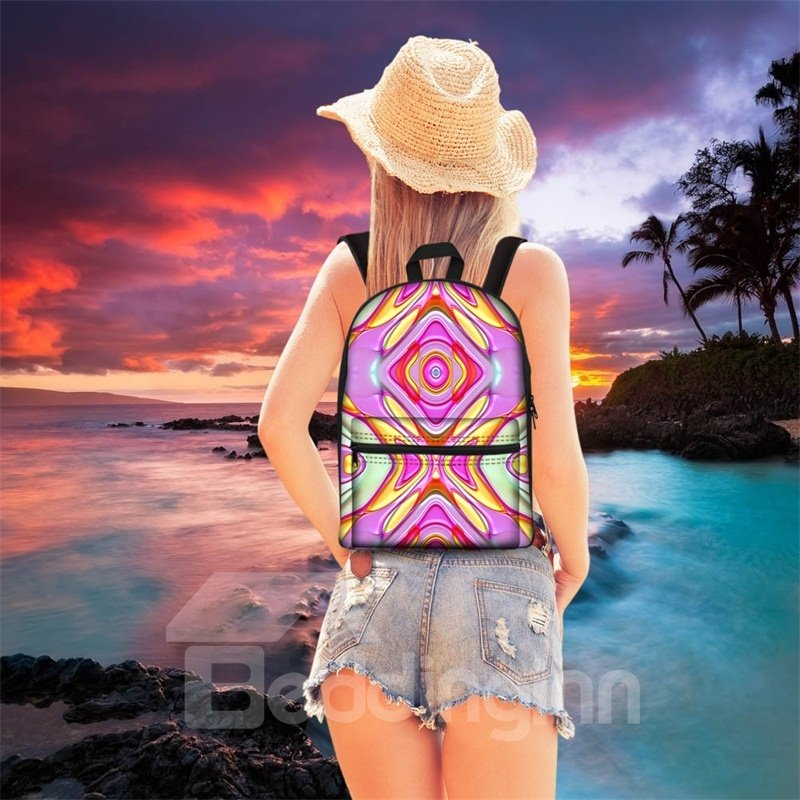 Show Personality Purple Exotic Style 3D Pattern School for Man&Woman Backpack
